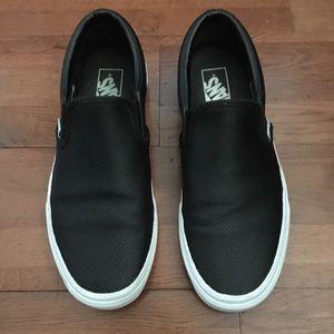Vans Black Leather Perforated Slip Ons Women's 9